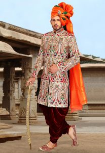 Hand Embroidered Brocade Sherwani in Multicolor