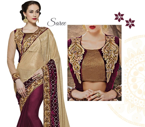 AW16 East-West Saree Trend: Sarees with Jackets & Contemporary Blouses. Shop!