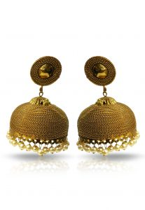 metallic-jhumka-earrings