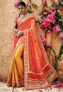 bandhani-zari-work-saree