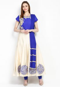 Embroidered Chanderi Cotton Anarkali Suit
