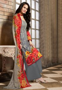 Digital Printed Satin Pakistani Suit