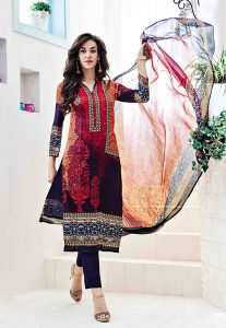 Digital Printed Satin Pakistani Suit In Multicolor