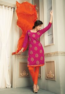 Embroidered Chanderi Silk Straight Suit in Fuchsia