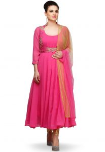 Embroidered Chiffon Anarkali Suit in Pink