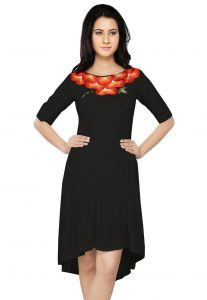 Embroidered Crepe Asymmetric Dress in Black