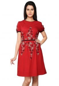 Embroidered Crepe Flared Dress in Red