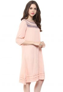 Embroidered Crepe Tunic in Peach