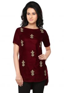 embroidered-velvet-asymmetric-tunic-in-maroon