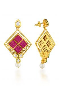 fuchsia-stone-studded-dangle-earrings