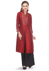 gota-lace-art-dupion-long-kurta-in-maroon