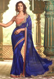 Embroidered Border Georgette Saree in Blue