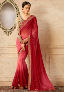 ombre-red-saree