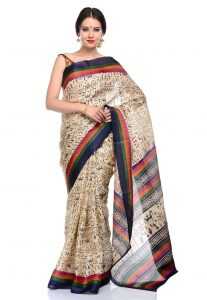 Printed Bhagalpuri Silk Saree in Cream