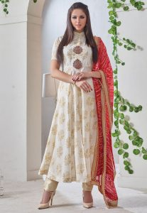 Printed Chanderi Anarkali