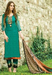Teal Green Embroidered Chiffon Salwar Suit