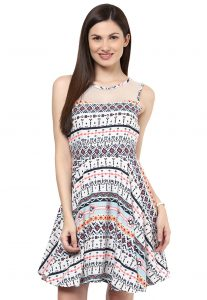 Printed Crepe Dress In White