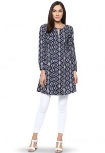 Printed Crepe Kurti in Navy Blue and White