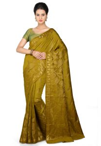 pure-muga-silk-saree-in-olive-green