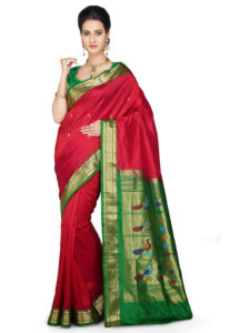 red-pure-paithani-silk-saree