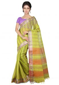 Bengal Handloom Pure Cotton Tant Saree in Olive Green