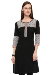 black-cotton-short-kurta