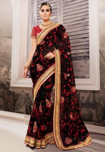 black-embroidered-net-saree