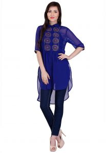 Block Printed Georgette High Low Tunic in Blue