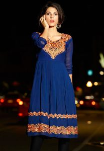 Blue Faux Georgette Readymade Tunic