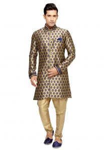 Brocade Sherwani in Gold and Dark Blue
