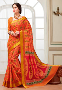 coral-printed-cotton-saree