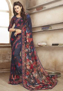 Digital Printed Georgette Saree in Navy Blue and Red