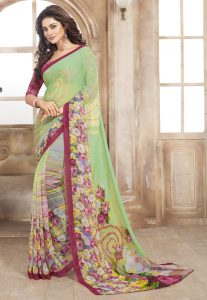 Digital Printed Georgette Saree in Pastel Green
