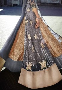 Embroidered Abaya Style Double Layered Suit in Grey