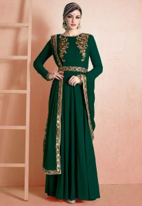 Green Anarkali Suit With Sequins