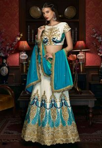 Embroidered Art Silk A Line Lehenga in Off White