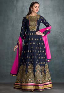 embroidered-art-silk-abaya-style-suit-in-navy-blue