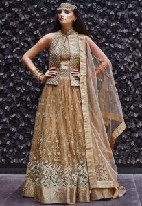 Embroidered Art Silk Jacket Style Lehenga in Beige