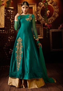 Embroidered Art Silk Jacket Style Lehenga In Teal Green