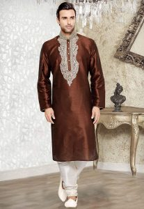 Embroidered Art Silk Kurta Set in Brown