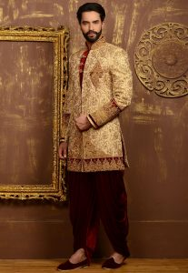 Embroidered Brocade Sherwani in Beige