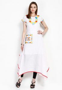 Embroidered Cotton Asymmetric Tunic in White