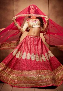 Embroidered Faux Georgette Lehenga in Pink Ombre