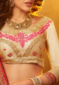 Beige Art Silk Embroidered Choli - Front