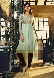 Embroidered Georgette Asymmetric Tunic in Pastel Green