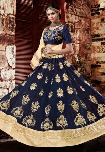Embroidered Georgette Circular Lehenga in Navy Blue