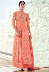Embroidered Georgette Jacket Style Lehenga in Dark Peach