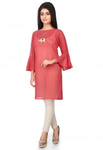 Embroidered Georgette Kurti in Coral Red
