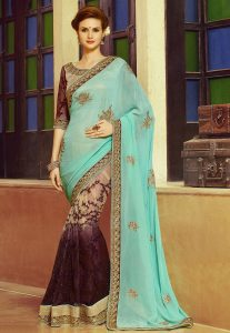 Half Half Saree With Sequins