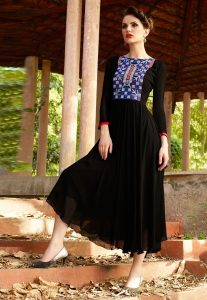 Embroidered Georgette Tunic In Black